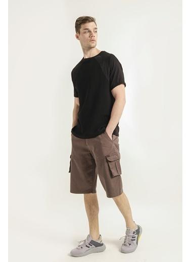 Oksit Emrick Erkek Comfort Fit Petek Desen Tshirt Siyah